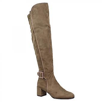 Leonardo Shoes Women's handgemaakte mid heels knie hoge laarzen in taupe suède leer met rits en gesp