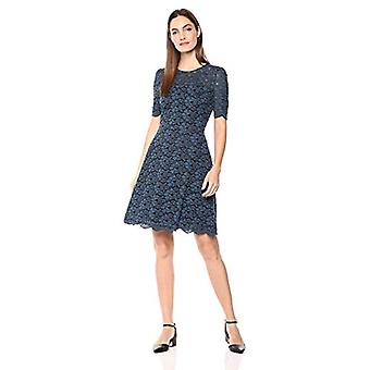 Lark & Ro Women's Half Sleeve Lace Crewneck Fit and Flare Dress, Marine Blue/...