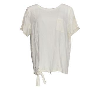 Chiunque Women's Top Cozy Knit Side Tie T-Shirt w/ Pocket White A353777