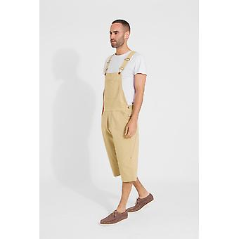 Christopher loose fit coloured cotton dungaree shorts - sand