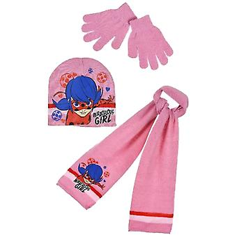 Miraculous ladybug girls hat scarf and gloves set with glitter mlb4200hsg
