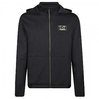EA7 Emporio Armani Black Zip Up Gold Logo Hoody Sweatshirt 6HPM74 PJF3Z