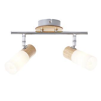 Lampada BRILLIANT Babsan Spot Tube 2flg legno chiaro/bianco | 2x C35, E14, 3,5W, adatto per lampade a candela (non incluso) | Scala