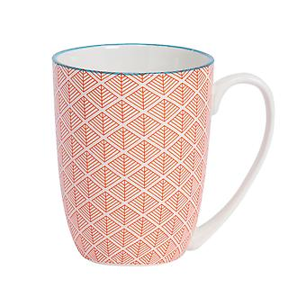Nicola Spring Geometric Modelé Tea and Coffee Mug - Large Porcelain Latte Cup - Corail - 360ml