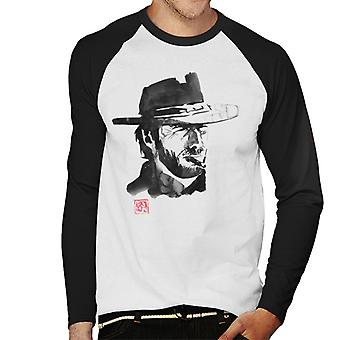 Sumi e Clint Eastwood The Good The Bad and The Ugly Men''s Baseball Long Sleeved T-Shirt