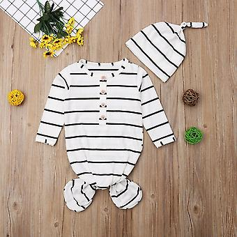 Baby Romper Sleepwear Floral Striped Long Sleeve Knotted Sleepy Gown Swaddle