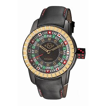 GV2 By Gevril Men's 9307 Lucky 7 Automatic Black Leather Wristwatch