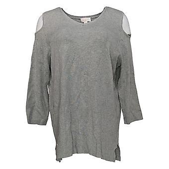 Belle par Kim Gravel Women-apos;s Sweater Cold Shoulder 3/4 Sleeve Gray A301582