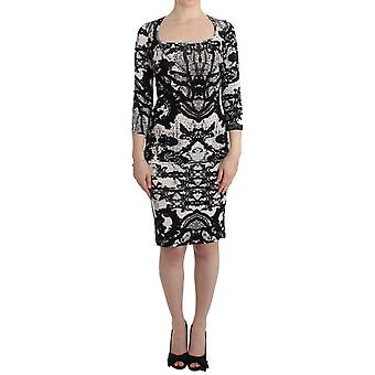 Cavalli Black Printed Sheath Dress