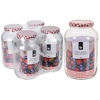 Excellent Housewares Glass Jar With Lid 4L 696000190