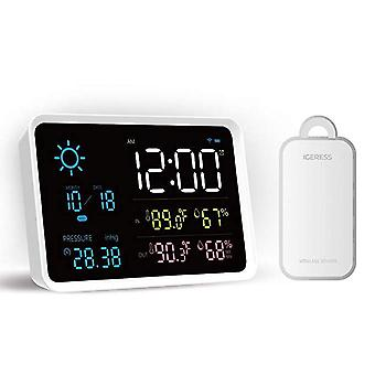 Digital lcd alarm clock with weather forecast and temperature display