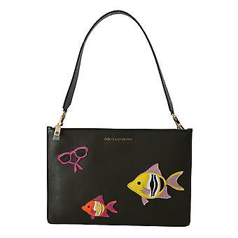 Black fish patch women hand shoulder leather purse