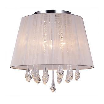 Italux Isla - Flush Ceiling Light White 3 Light con material shade, E14