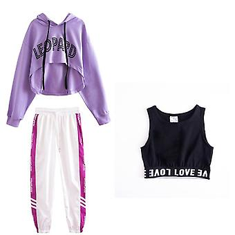 Costumes de danse Hip-hop Kids Long Sleeve Hooded, Top Vest Pants/clothes Street