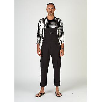 Bill mens black dungarees with cargo pockets