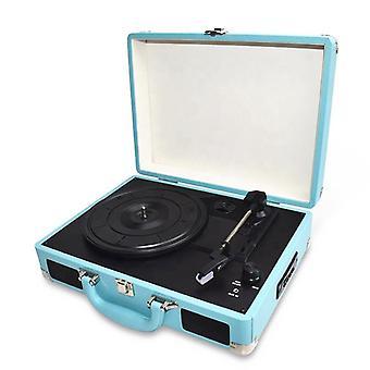 Tragbarer Vinyl-Player mit Tasche Blau
