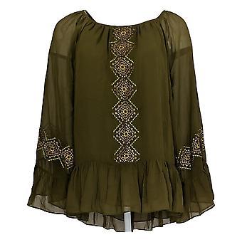 Laurie Felt Women's Top Regular Blouse w/ Lace Hem Green A301674