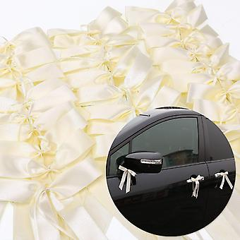 50 Ribbon Bow-knot Wedding Decorations | For Cars Weddings Celebrations Parties Embellishment Decoration | Ivory