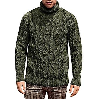 Herbst Winter Men's Pullover, Turtleneck solid Cotton gestrickte warme Pullover