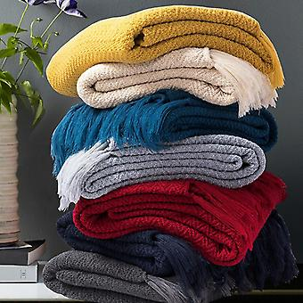 Lightweight Acrylic Knitted Cozy Bed Throw Blanket For Sofa