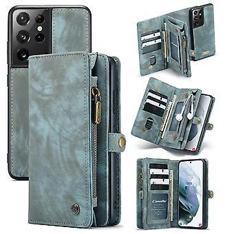 CASEME Samsung Galaxy S21 Ultra Retro Leather Wallet Case - Blue