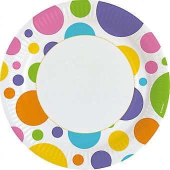 Plates Dots 22.8 Cm Paper White 8 Pieces