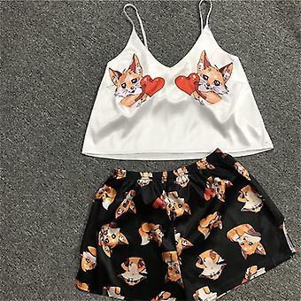 Cartoon Printsleepwear Home Suit Summer V Neck  Pyjamas Women Spaghetti Strap