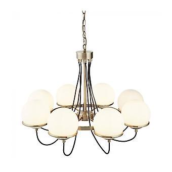 Lámpara Colgante De Esfera, Latón Antiguo Y Vidrio, 8 Bombillas