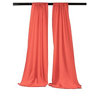 La Linen Pack-2 Polyester Poplin Backdrop Drape 96-Inch Wide By 58-Inch High, Coral