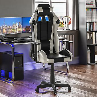 Nitro Racing Gaming Home Office Faux Leather Chair, White & Black