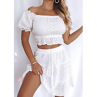 Broderie Anglaise Cropped Top Mini Jupe Co Ord Set Blanc