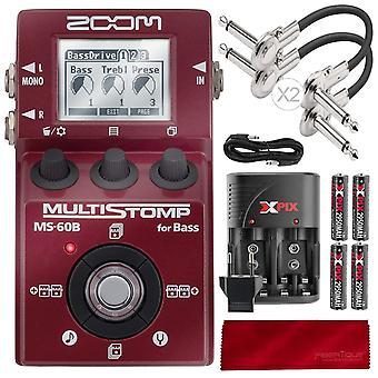 Zoom ms-60b pedal de graves multistomp con cables y paquete de lujo