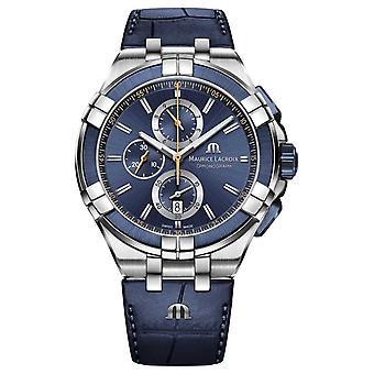 Maurice Lacroix Aikon Chronograph Quartz Blue Leather AI1018-SS001-432-4 Watch