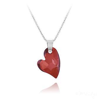 Rode magma zilveren hart ketting met swarovski kristal