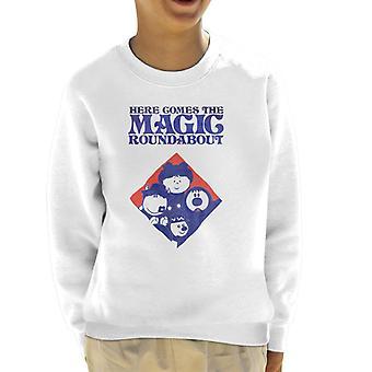 The Magic Roundabout Retro Blue Tone Diamond Kid's Sweatshirt