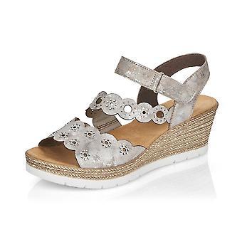 Rieker 619c5-90 Moon Fashion Wedge Sandals In Silver