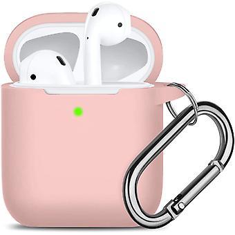 Cubierta protectora impermeable con llavero compatible con los airpods de Apple 2 y 1, color rosa arena