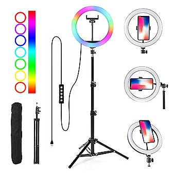 Selfie Flash Dimmable 10 RGB LED Ring Light WithTripod Stand & Phone Holder & Bag Selfie Flash Dimmable 10 RGB LED Ring Light WithTripod Stand & Phone Holder & Bag Selfie Flash Dimmable 10 RGB LED Ring Light WithTripod Stand & Phone Holder & Bag Selfie Flash