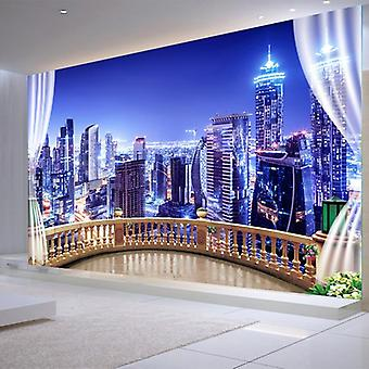 Photo Wallpapers 3d, City Building Night, Landscape Wall Cloth, Living Room, Tv