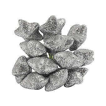 12 Wired Silver Glitter Stars for Christmas Wreaths & Floristry