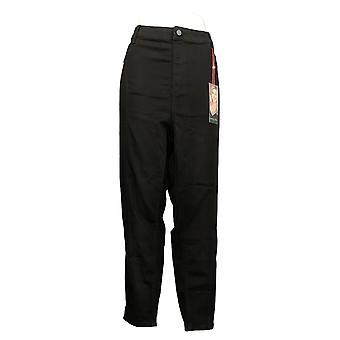 Laurie felt mujeres's jeans más sedoso denim tobillo skinny negro A372262
