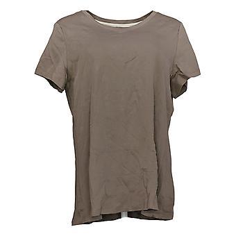 Isaac Mizrahi Live! Women's Top Cotton V Neck Short Sleeve Tee Brown