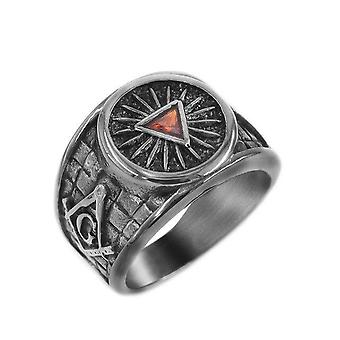 Masonic silver & gold red stone pyramid ring