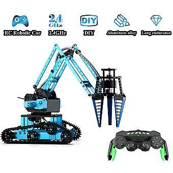 RC Brazo robótico coche aleación de aluminio Robot 2.4Ghz con ruedas de bricolaje edificio juguete para niños| Robot RC(Azul)