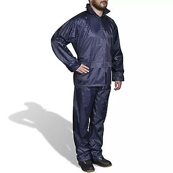Blaue Regenbekleidung für Männer 2-teilig mit Kapuze Größe L