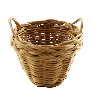Dolls House 2 Handled Wicker Washing Storage Basket Miniature 1:12 Accessory