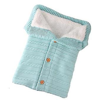 Light green baby kids toddler thick knit soft warm blanket swaddle sleeping bag x4583