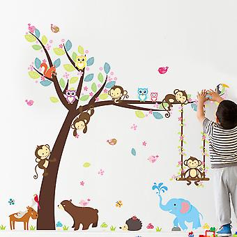 Regenboghorn Jungle Zoo Monkey Swing On Tree With Owl And Squirral Wall Decal Sticker
