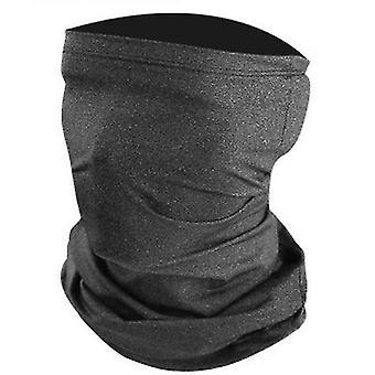 2Pcs gris foncé été anti-uv crème solaire écharpe en soie glacée, demi masque d'équitation az16293