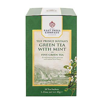 חברת הודו המזרחית - התה הירוק של הנסיך סולטן עם מנטה (20 שקיקי תה שקית בודדים)